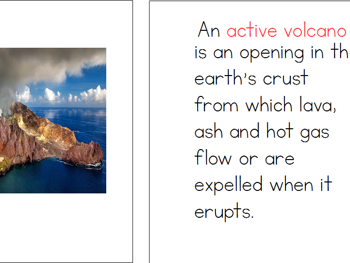Volcanoes Montessori Definition Booklet