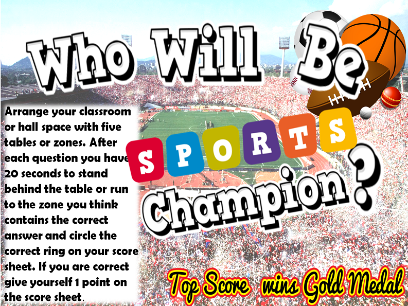Sports Day Maths Multiple Choice Interactive Sports Facts and Records Game - Maths and PE.