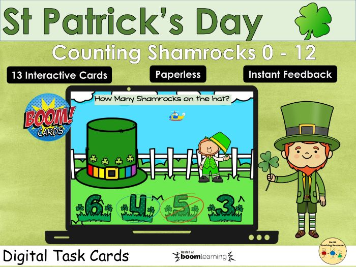 St Patricks Day Counting Shamrocks 0 to 12 Boom Cards™ Distance Home Learning
