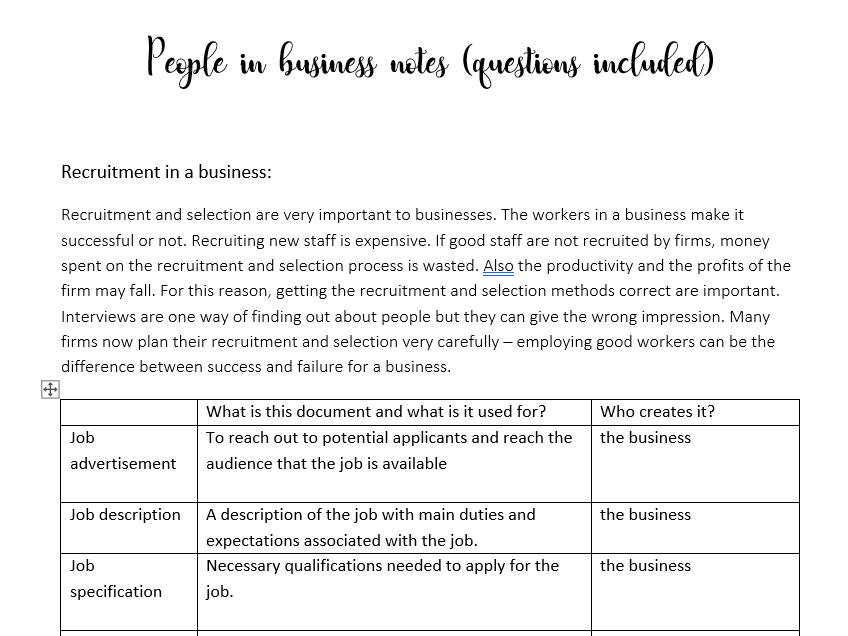 People in business notes (questions and answers included)