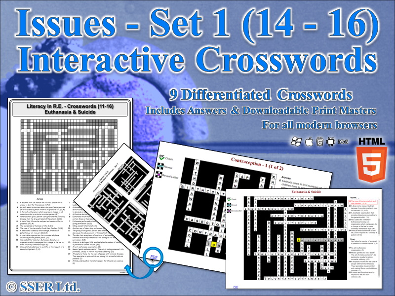 Literacy In Moral & Ethical Issues (Set 1) – Interactive Crosswords (HTML5)