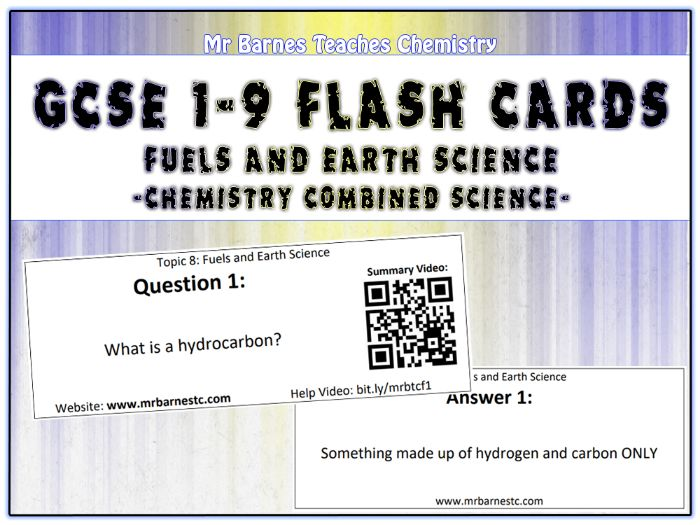 GCSE Chemistry Flash Cards - Fuels and Earth Science