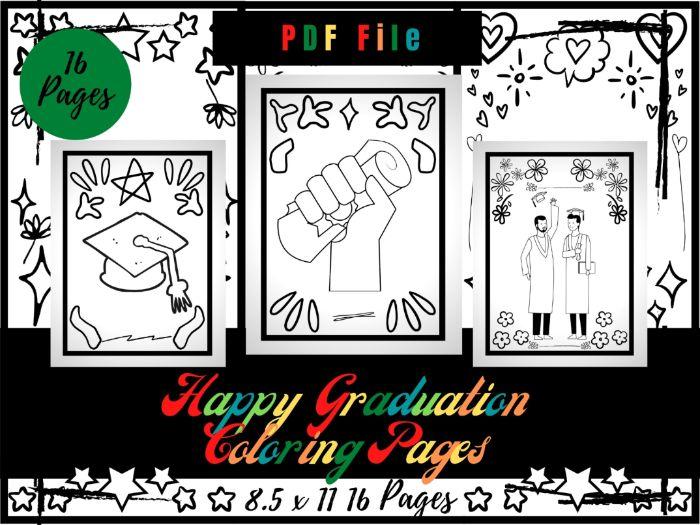 Happy Graduation Coloring Pages For kids, Graduation Coloring Sheets PDF