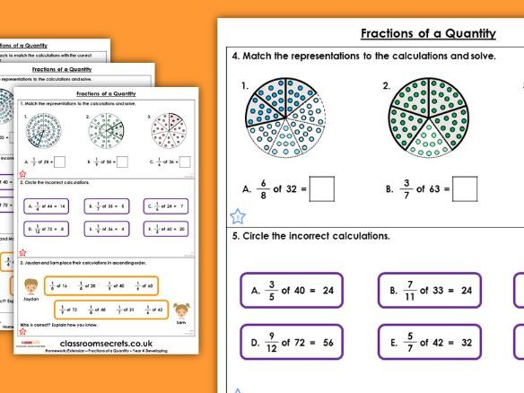 Year 4 Fractions of a Quantity Spring Block 3 Maths Homework Extension