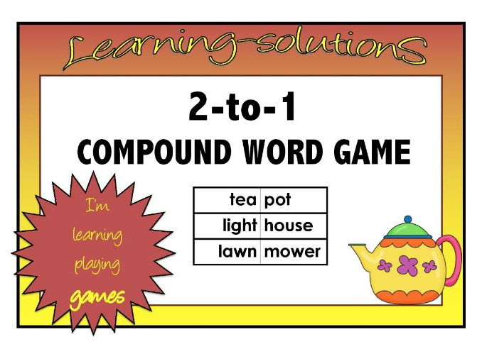 COMPOUND WORD GAME - 2 to 1 - Board Game with Word Bank for 346 words