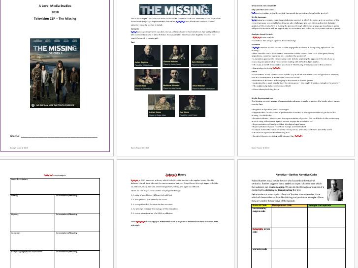 AQA A Level Media Studies - CSP The Missing