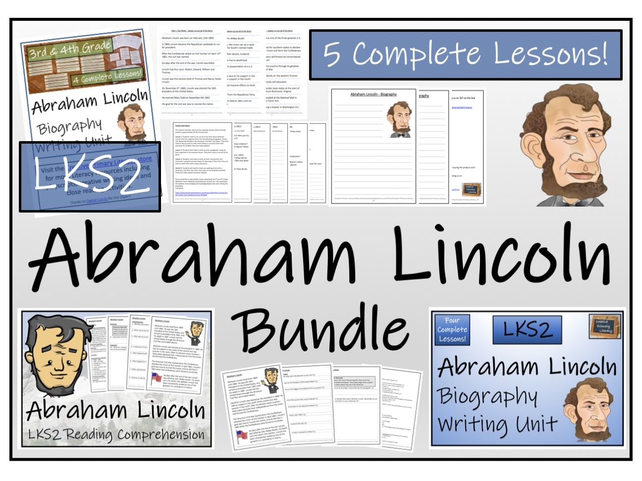 LKS2 History - Abraham Lincoln Reading Comprehension & Biography Bundle