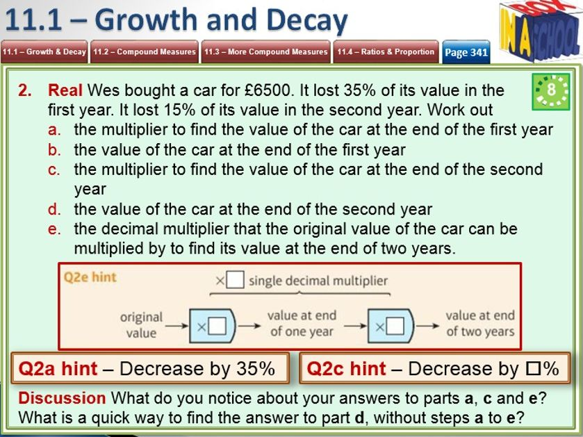 Mathematics 9-1 - GCSE - Unit 11 - Multiplicative Reasoning - Growth, Decay, Ratio, Proportion.