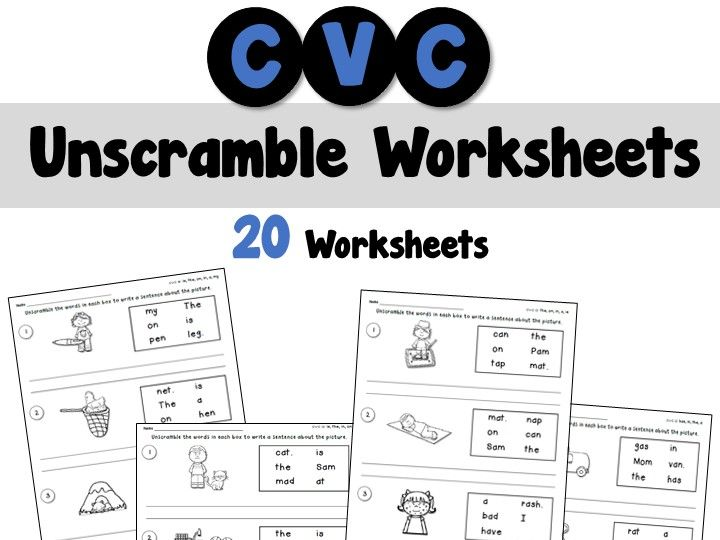 Cvc Unscramble Sentences Worksheets Teaching Resources