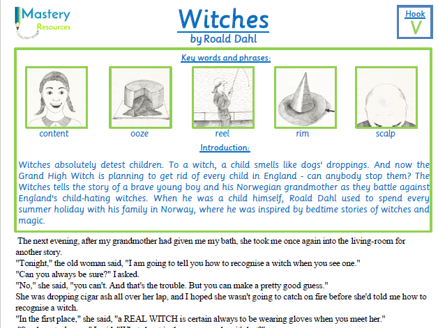 Witches by Roald Dahl Comprehension KS2