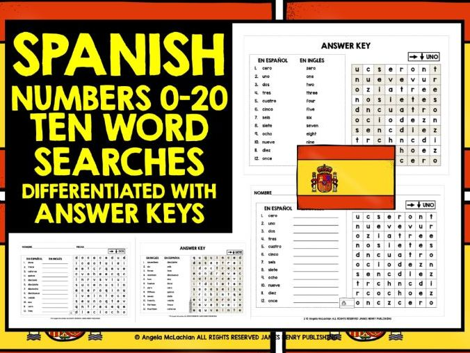 SPANISH NUMBERS 0-20 WORD SEARCHES