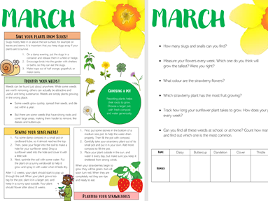 outdoor learning - gardening months