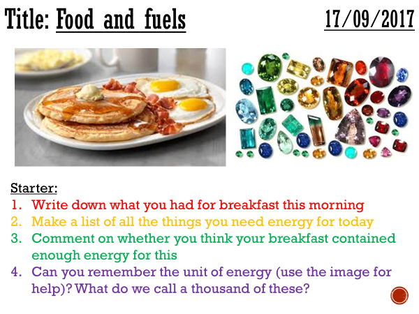 Food and fuels - complete lesson (KS3)