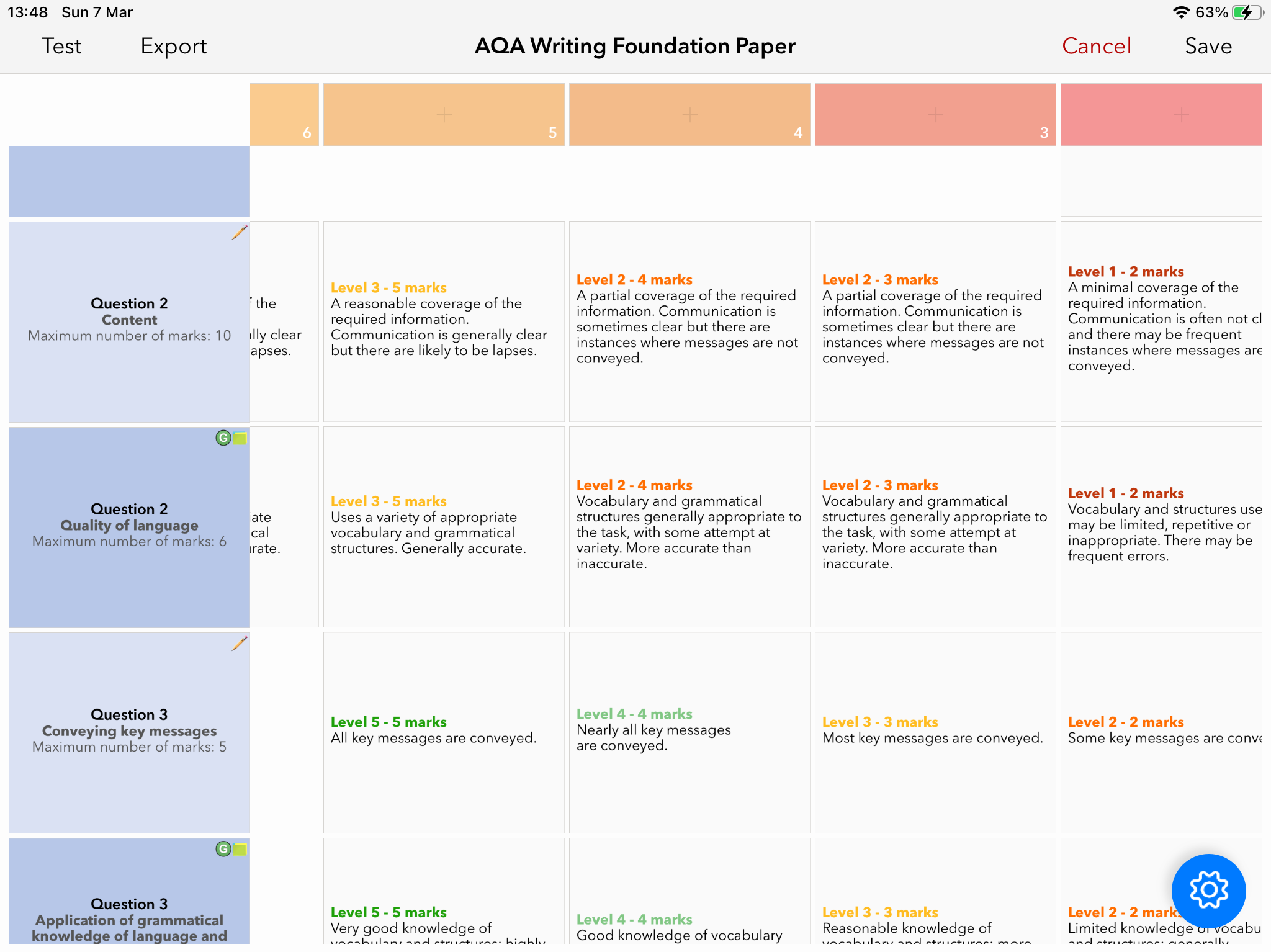 AQA Languages GCSE Speaking and Writing (Foundation and Higher) Mark Schemes on PDF and Rubrics for iDoceo