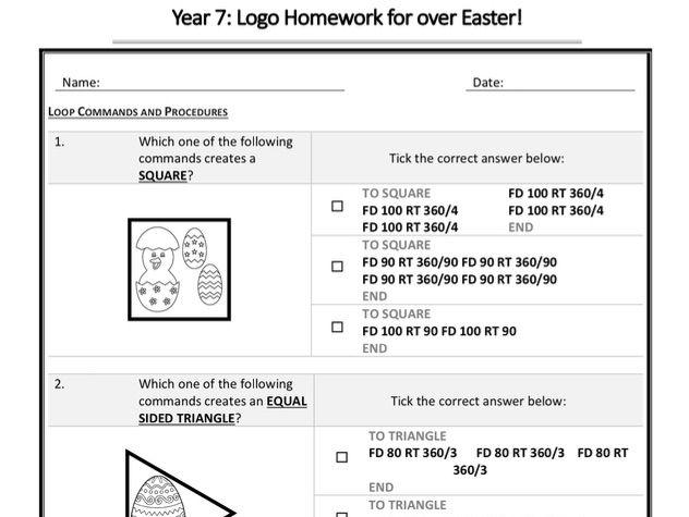 Y7 Programming LOGO Homework Example