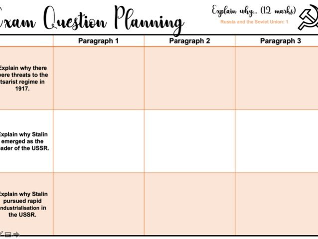 Exam Question Planning Sheets: Explain why... Russia and the Soviet Union