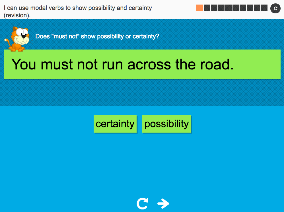 I can use modal verbs to show possibility and certainty (revision) - Interactive Activity - Year 6 Spag