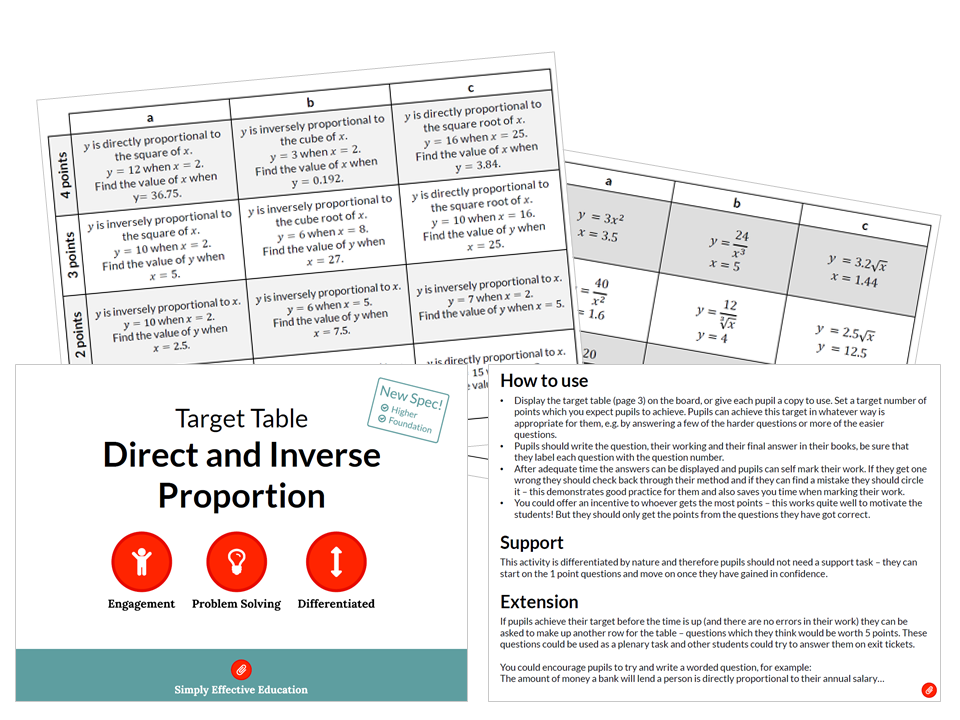 Direct and Inverse Proportion (Target Table)