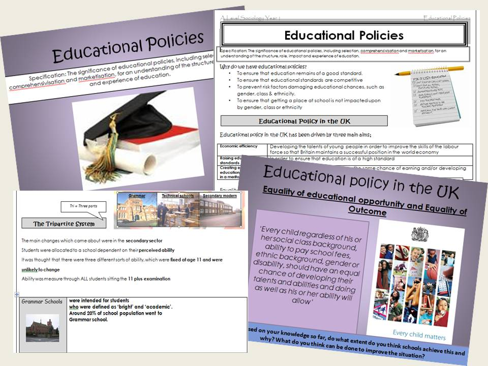 AQA Sociology - Year 1 - Education - Education and social policy - Complete section