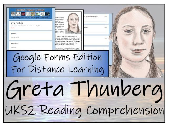 UKS2 Greta Thunberg  Reading Comprehension & Distance Learning Activity