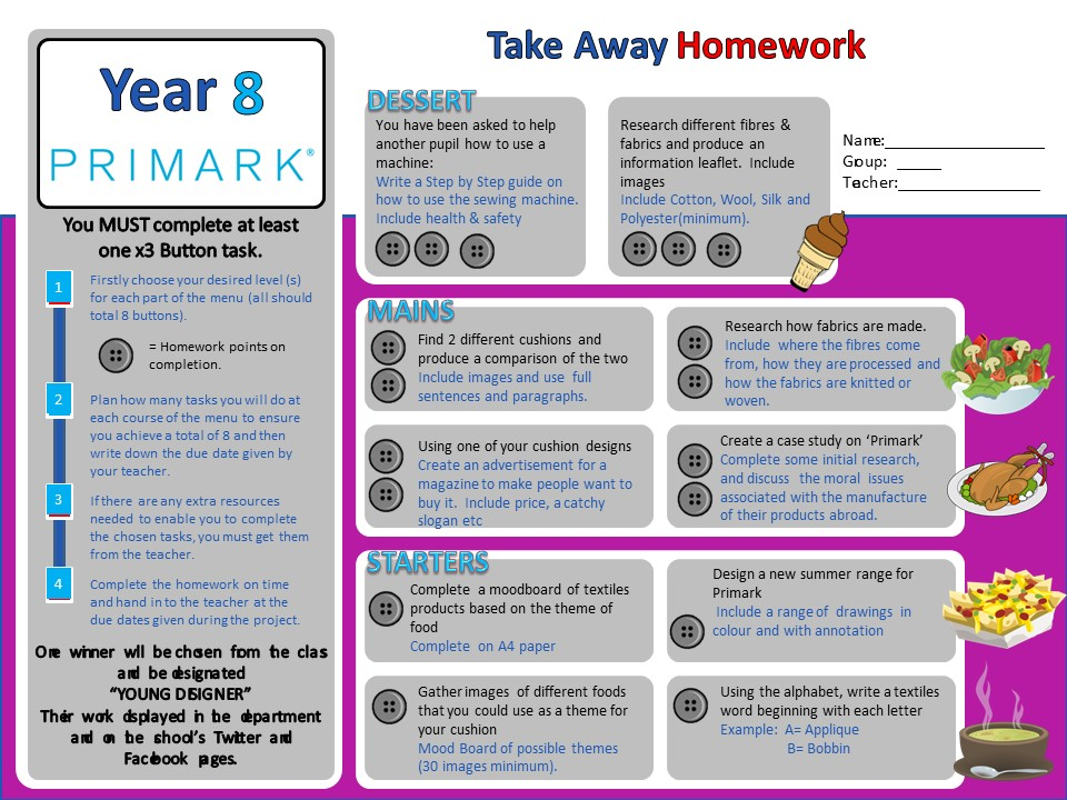 Textiles differentiated homework sheet - KS3