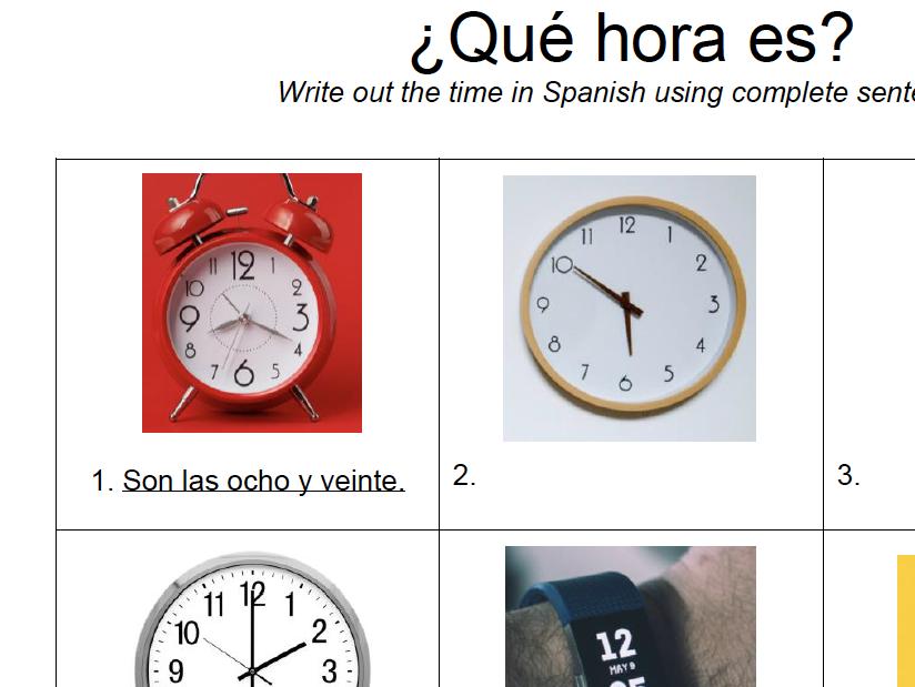 Telling Time Worksheet: Spanish