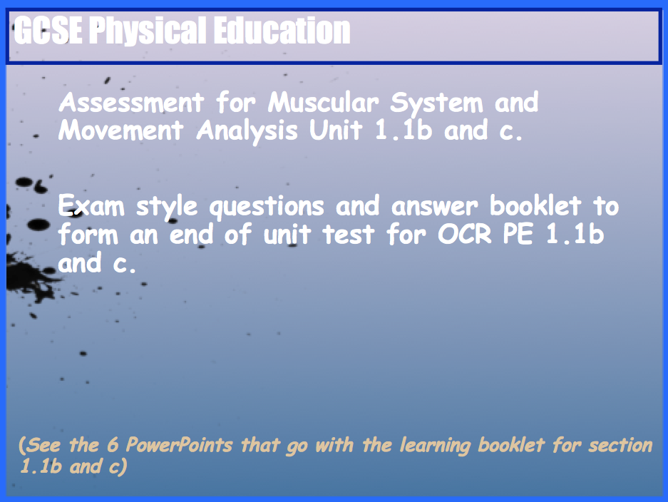GCSE OCR PE Muscular System (1.1b) and Movement Analysis (1.1b) End of Unit Test