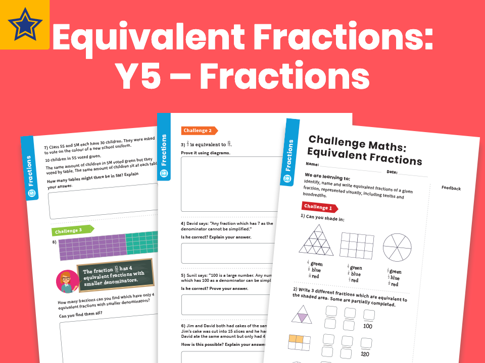 Equivalent Fractions: Y5 – Fractions – Maths Challenge