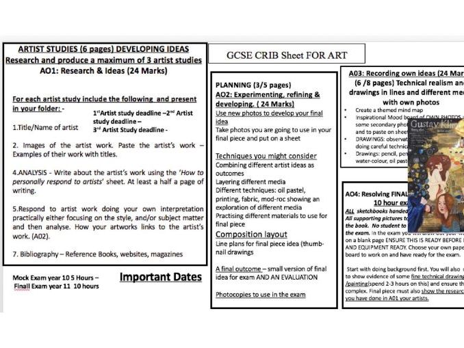 GCSE course summary sheet: CRIB sheet 2 pages : Objectives/Writing frames/Evaluation/Composition