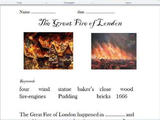 Great Fire of London (powerpoint and differentiated worksheets).
