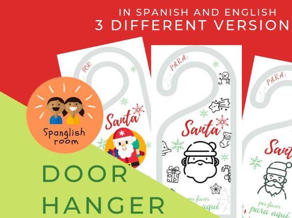 Door Hanger 'Santa stop here' / 'Santa para aqui'