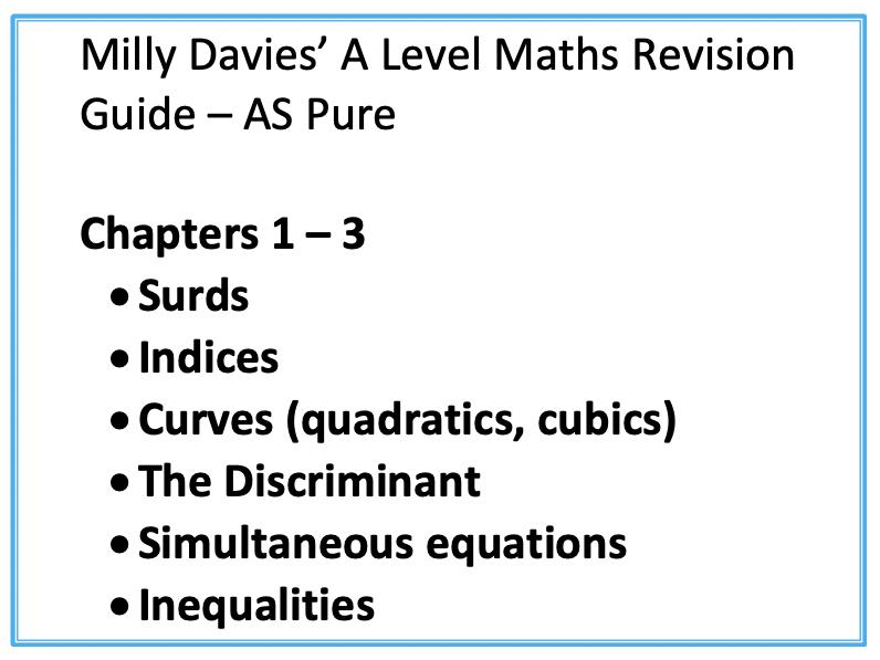 Ch1-3 Pure AS Maths Notes Edexcel