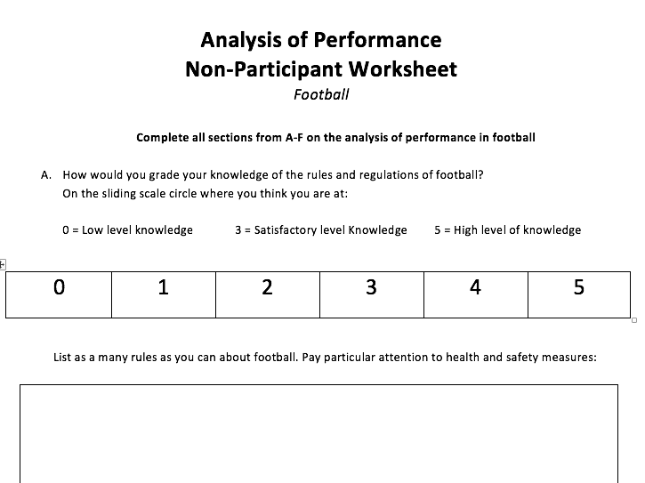 Non participant worksheets for 10 sports (Analysis of performance)