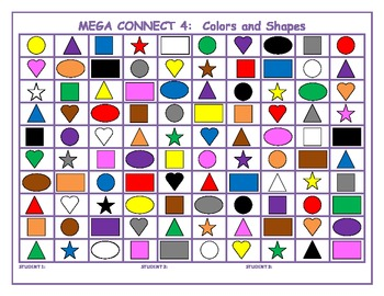 Colors and shapes Mega Connect 4 game
