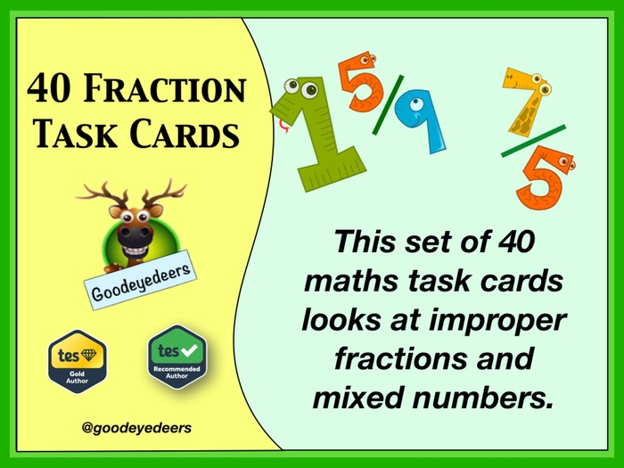 Improper Fractions and Mixed Numbers - Maths Task Cards