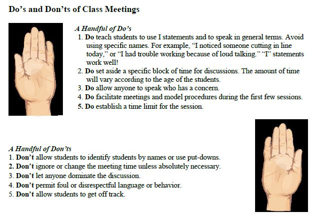 Class Meetings - How to Conduct, Do's and Don'ts