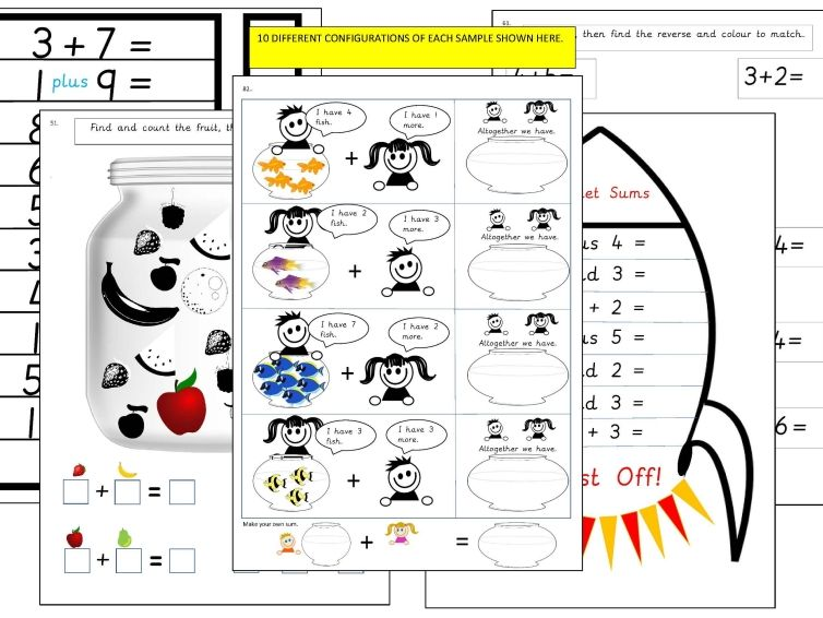 51-100 of 100 Addition within 10 Activity Sheets