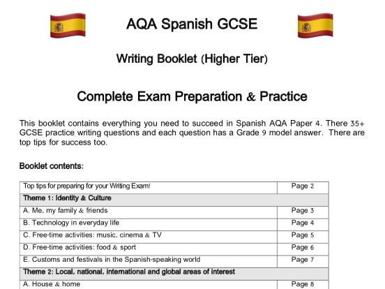 Spanish AQA Writing: Questions, Model Answers & Complex Structures for GCSE