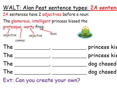 109 Sentence start activities for Alan Peat's sentence types
