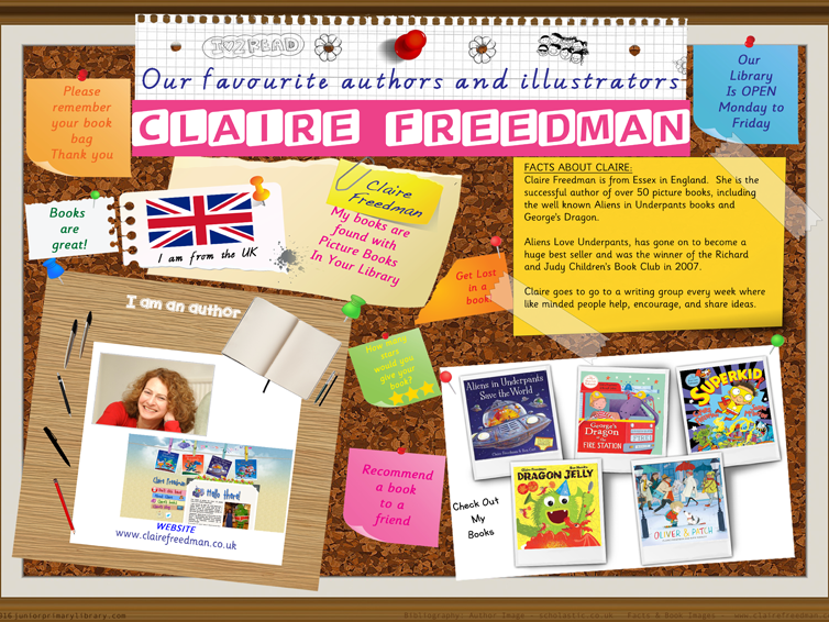 Library Poster - Claire Freedman UK Author Of Picture Books