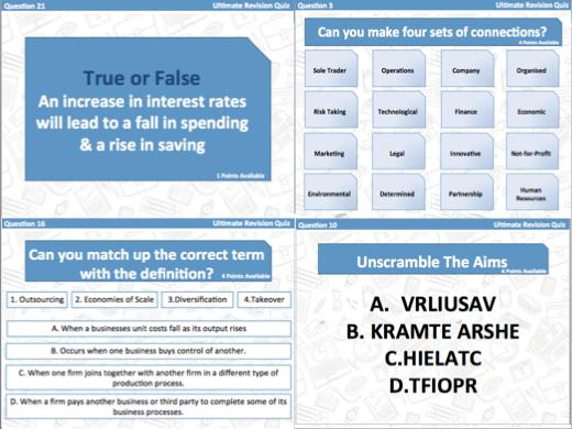 AQA GCSE Business (9-1) Revision Quiz - Year 10