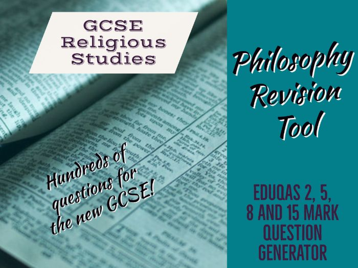 Eduqas GCSE Religious Studies test questions - All Philosophy units