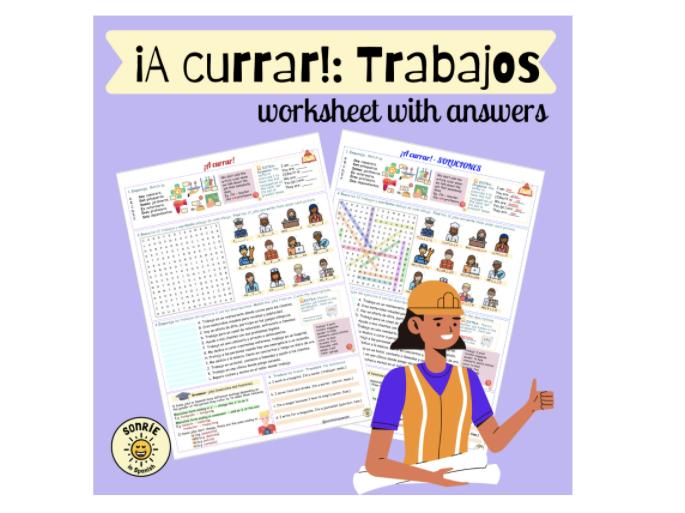 ¡A currar! Los trabajos. Punto de Partida. Spanish GCSE world of work: jobs. Worksheet with answers.