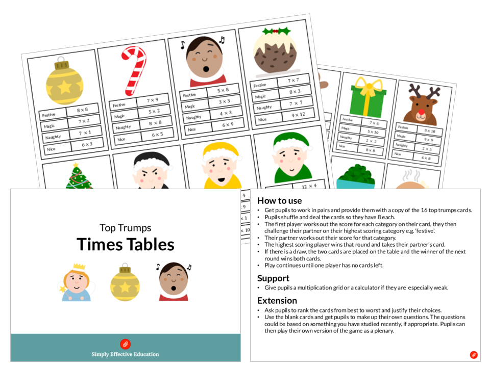 Christmas Top Trumps (Times Tables)