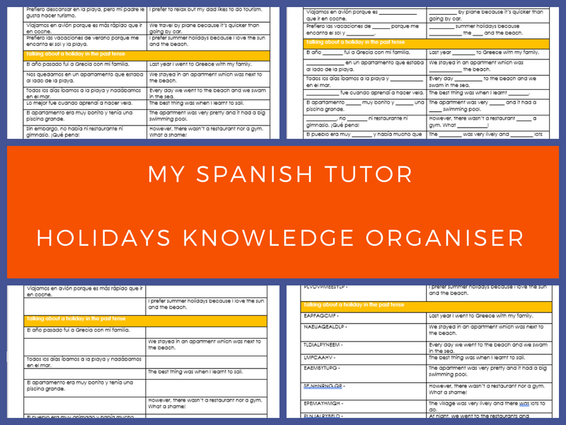 GCSE Spanish Holidays Knowledge Organiser