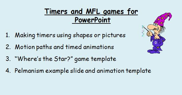 Making timers and 2 MFL games in PowerPoint