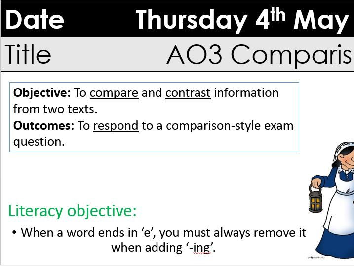 GCSE AO3 'compare and contrast' two lessons with A3 extract sheet Q5/6