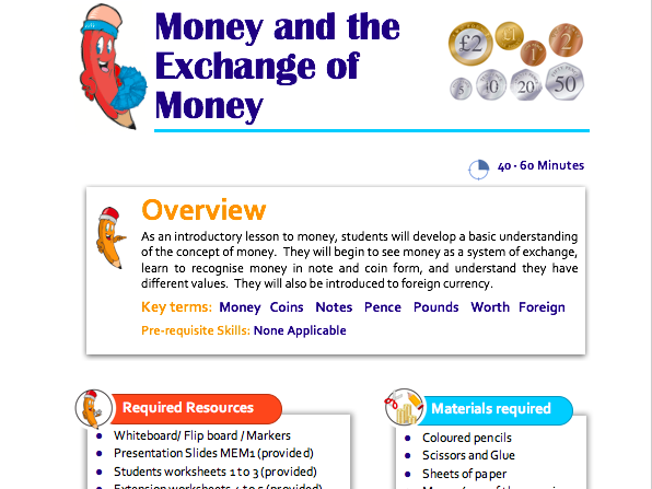 Money and the Exchange of Money Lesson Plan for Key Stage 1