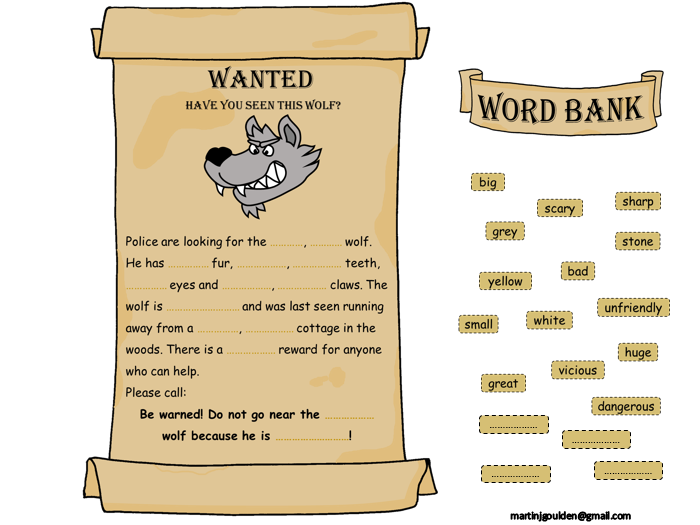 Little Red Riding Hood Adjective Wanted Poster - Editable text and drag and drop words.