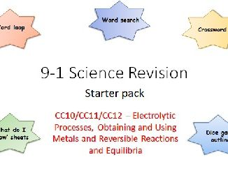C10,11,12 Electrolysis Processes, Obtaining and Using Metals Reversible reactions Revision 9-1